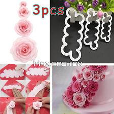3pcs 3D Cake Rose Petal Flower Cutter Fondant Icing Tool Sugarcraft Decorating