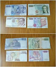 ITALY LOT OF 4 BANKNOTES 10000 5000 BELLINI 2000 MARCONI FIRST EMISSION YEAR