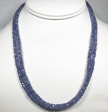 .925 Sterling Silver Single-Strand Faceted Tanzanite Gemstone Beaded Necklace 17