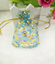50pcs 7*9cm Jewellery Pouches Packing Organza Gift Bags Wedding Party sky blue