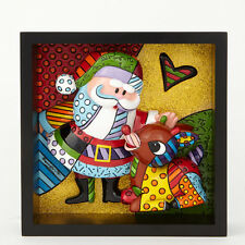 Romero Britto Santa Claus & Rudolph Pop Art Block Figurine/Wall Art ~ 4039614