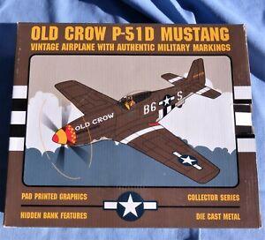 NIB Spec Cast Liberty Old Crow P-51D Mustang Airplane Die Cast Metal Bank