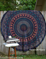 Indian Round Mandala Wall Hanging Beach Throw Yoga Mat Elephant Tapestry Roundie