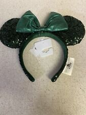 Disney Parks 2020 Emerald Green Sequin Minnie Mickey Ears Headband New Release