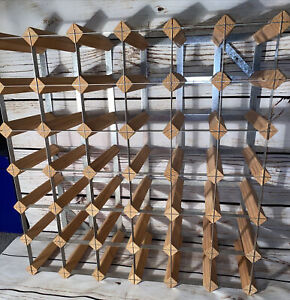 TRADITIONAL 36 Wine Bottle Rack Storage Pine Wood & Metal SHABBY CHIC Free Post