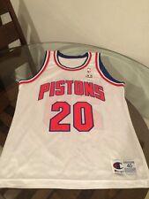 Allan Houston Detroit Pistons White Champion Jersey 40 Autographed Excellent Con