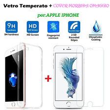 COVER CUSTODIA in TPU + PELLICOLA in VETRO TEMPERATO per Apple iphone