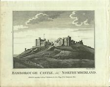ANTIQUE PRINT BAMBOROUGH CASTLE IN NORTHUMBERLAND C1760 PUB. HOGG ENG THORNTON