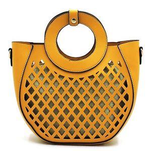 Medium Metal Round Handle Vegan Leather Structured Clutch Satchel Purse Crossbod