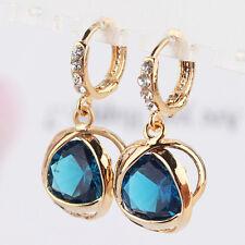 14K Gold Plated Crystal Amethyst Zircon Dangle Drop Womens Hoop Earrings Jewelry
