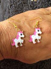 Unicorn Pink and White Enamel Earrings 20 mm long Gold hooks - AUSSIE  Seller