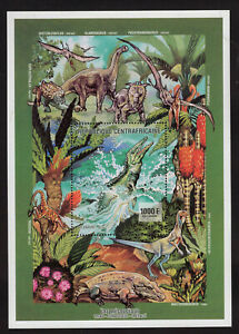 DINOS - PREHISTORIC CENTROAFRICAN, COMPLETE SET, YEAR 2000, MNH, VF