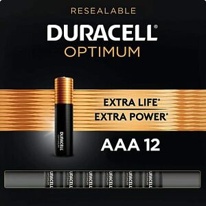 Duracell Optimum AAA Batteries, Pack of 12, Convenient Resealable Package