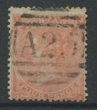 GB Used Abroad 1862 4d vermilion QL struck by a Malta numeral A25