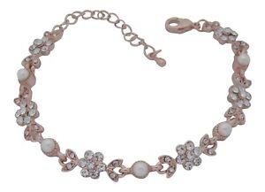 Rose Gold Crystal and Pearl Flower Bracelet Bridal Jewellery Wedding Bracelet