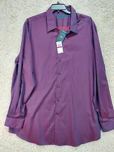 Perry Ellis Men's Shirt Size 2XLT Purple Travel Luxe Long Sleeve Dress New 1307