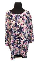 NYDJ Womens 3/4 Sleeve Floral Printed Pintuck Henley Blouse Top Shirt Plus Sz 1X