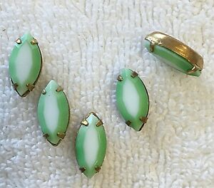 VINTAGE MINT GREEN/WHITE GIVRE MARQUISE GLASS JEWELS IN BRASS SETTINGS 12 PC