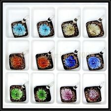 12 Pcs Lovely Box Crystal Murano art glass beaded leather pendant necklace