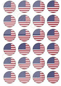 United States America USA Themed 24 Edible Cup Cake Cupcake Toppers Celebrations