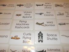 20 Flying Machines Laminated Flashcards. Preschool thru 4th grade educational fl
