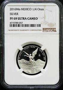 Mexico 1/4 oz. Silver Libertad 2016 PROOF, NGC PF69 Ultra Cameo.  KM# 611