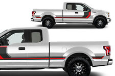 Vinyl Decal Rally Stripe 2 Wrap for 15-17 Ford F-150 BLK + RED Supercab 6.5 Bed