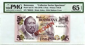 BOTSWANA 5 PULA 1979 SPECIMEN GEM UNC PICK 3 a CS 1 LUCKY MONEY VALUE $360