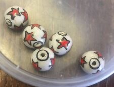 Vintage White W Red & Black Multi Star Design Chunky Round Ceramic Bead Lot