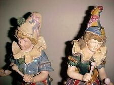 Rare Pair Antique Majolica Drummers C.1890 Bros, Urbach, Austria