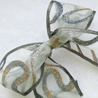 1m 63mm WIRED CHRISTMAS RIBBON GREY SILVER & GOLD GLITTER SPARKLE TREE GIFT BOWS