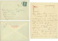 1930 Steamship SS France On Board cover/letter to Missouri