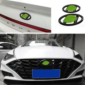Glossy Black Grille Front Rear Logo Emblem Badge For Hyundai Sonata 2020-2022