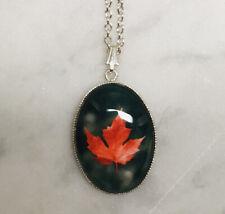 Canadian Maple Leaf Necklace- Autumn Red / Orange