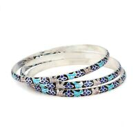 925 solid Sterling Silver Handmade Enamel Work Bangle WT- 33 gm Free Shipping