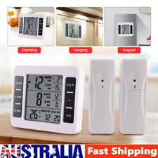 2 Sensor Wireless Digital Thermometer Forecast Freezer Fridge In/Outdoor Alarm A