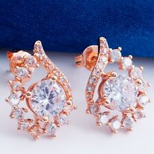 Engagement Wedding Clear Round Cubic Zircon Rose Gold Plated Lady Stud Earrings