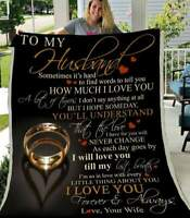 To My Husband - How Much I Love You Sofa Fleece Blanket 50-80