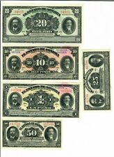 1913 Mexican Revolution Banknotes Estado de sonora 20,10,1,.50 and .25 Pesos UNC