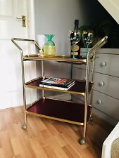 Vintage 1950s Woodmet Drinks Tea Hostess Cocktail Trolley Rose Gold 3 Tiers
