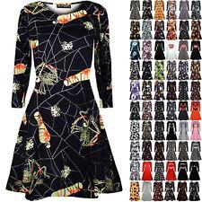 Womens Halloween Costume Swing Dress Ladies Skeleton Pumpkin Smock Mini Dress