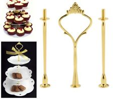 GOLD Create your own 2 - 3 Tier Cake Plate Stand Cupcake Fittings Gold  Party