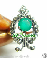 1.20ctw ROSE CUT DIAMOND EMERALD 925STERLINGSILVERVICTORIAN LOOK ANNIVERSARYRING