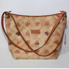 Borsa donna Loristella a spalla beige marrone bag pelle cuoio tracolla  canvas b4ad9b296fa