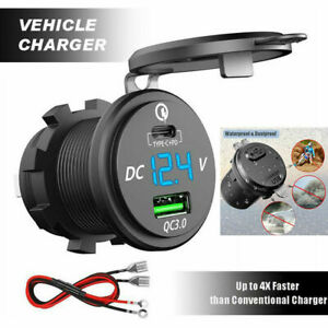 Type-C PD and QC 3.0 Fast Charging USB Car Charger for Motorcycle Boat RV MU