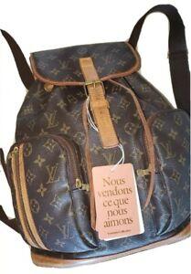 Louis Vuitton Backpack Bag Sac A Dos Bosphore LV Monogram Brown Leather Vintage
