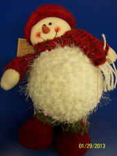 "12"" Stuffed Snowman Hanna's Handiworks Christmas Decor Collectible - Red Scarf"