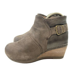 """Dansko Womens Ankle Boots EUR 38 US 8 Taupe Leather Suede Shirley 2.5"""" Wedge"""