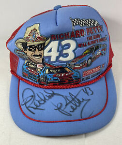 Vtg 80's Richard Petty Snapback Trucker Hat Cap Kandi Tops The King STP Signed
