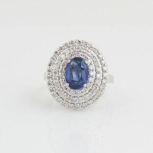 18k White Gold Genuine 3.91 TCW Tanzanite Gemstone Cocktail Ring SI/HI Diamond